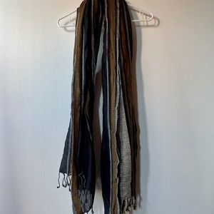 Made well Striped Fringe Scarf